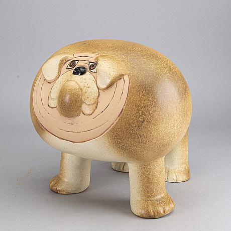 A lisa larson stoneware bulldog, by gustavsberg, sweden