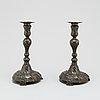 Ljusstakar, ett par, tenn, rokoko, 1700 tal