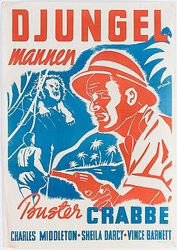 GUS LEANDER, a movie poster 'Djungelmannen', Borås Kliché o. Lito AB, 1941.