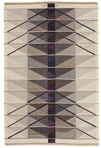 "Matto, ""vinterträd, grå"", flat weave, ca 226,5 x 149 cm, signed hb id"