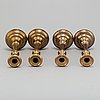 Four (2+2) brass candle holders, including skultuna