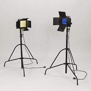 A pair of studio lamps, Kaiser Germany and Manfrotto Italy.