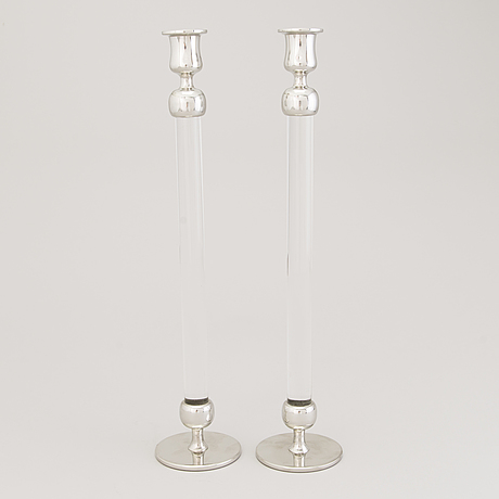 """A pair of candlesticks """"plexi"""" by josef frank and estrid ericson in pewter and plexi glass from 2018"""