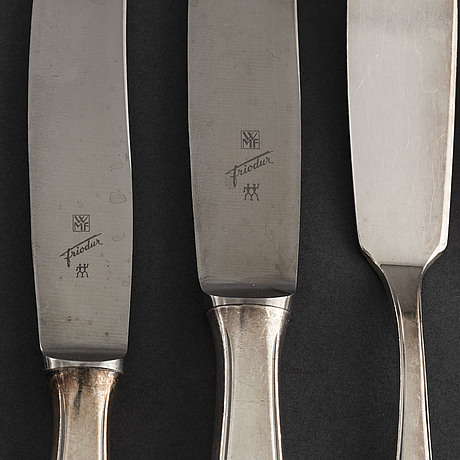 A part silver plated cutlery service, wmf, germany, 20th century (107 pieces)