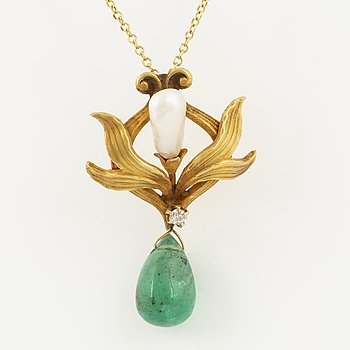 An art noveau dropshaped emerald, old cut diamond and pearl pendant.