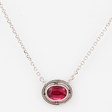 Platinum, 18k gold and oval faceted spinel necklace