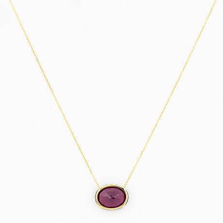 Oval faceted rhodolite garnet  necklace
