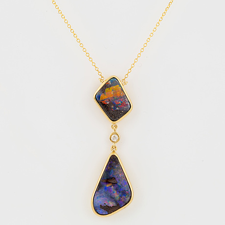 Black opal and brilliant cut diamond necklace
