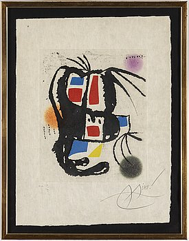JOAN MIRÓ, etching and aquatint in colours, 1976, signed in pencil ea 2/4, printed by Morsang, Paris.