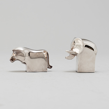 Gunnar cyrÉn, two silverplated figurines, danish design, japan