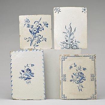 Four ceramic tiles, 18th century.