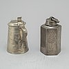 Tankard and tea caddi, pewter