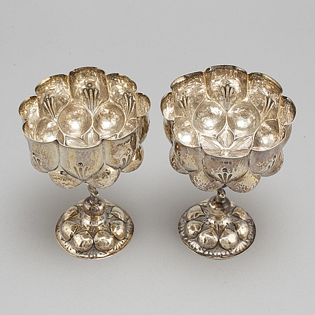 A pair of silver cups, germany, 19th century, british import marks