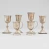 6 silver cups, two parcel gilt by carl petter lampa, stockholm 1828