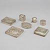 7 silver boxes, 19th 20th century, one by johan olof Östlund, gällivare sweden 1865
