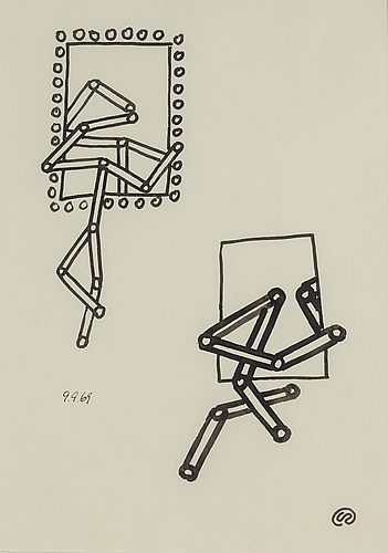 Lennart rodhe, tuschteckning. monogramsignerad samt daterad 9.9.69