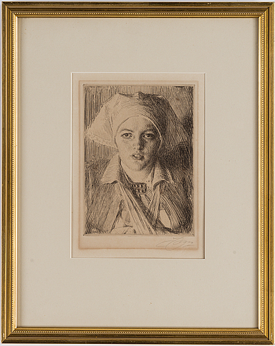Anders zorn, etching, 1918, signed in pencil
