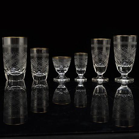 A swedish kosta glass servic, 20th century. (85 pieces).