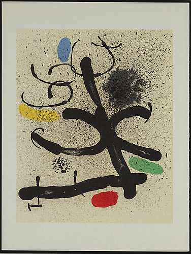 Joan mirÓ, after, color litograph, from derrière le miroir no 195, 1971