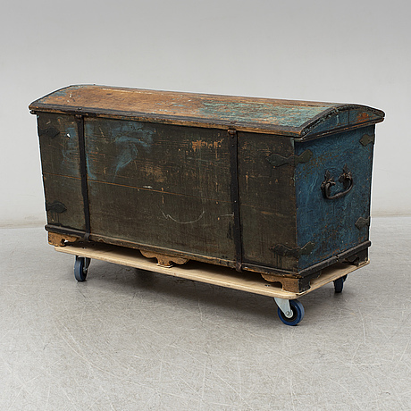 A swedish painted wooden chest dated 1865
