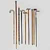 Nine walkig sticks, late 18th century   beginning of the 20th century