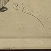 A carl larsson etching, signed c.l. in the plate