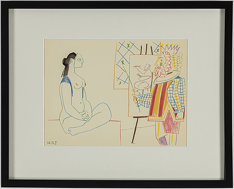 Pablo picasso, after, colour lithographe, dated in print, from verve 29 30, printed by mourlot, paris 1954