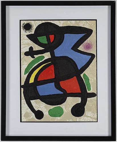 Joan mirÓ, after, color litograph, from derrière le miroir no 186, 1970
