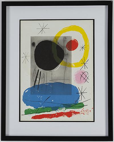 Joan mirÓ, after, color litograph, from derrière le miroir nr 151-152, 1965.