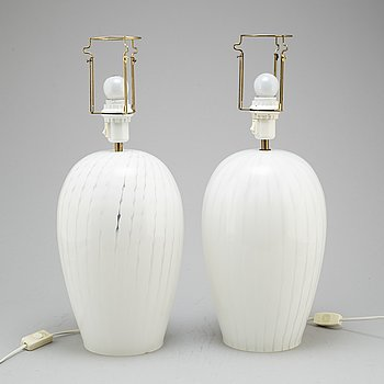 A pair of glass table lamps, 1980's.