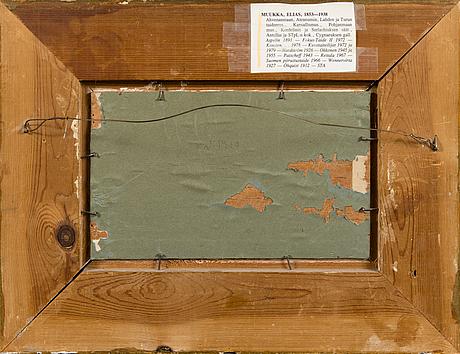 Elias muukka, oil on wood panel, signed em