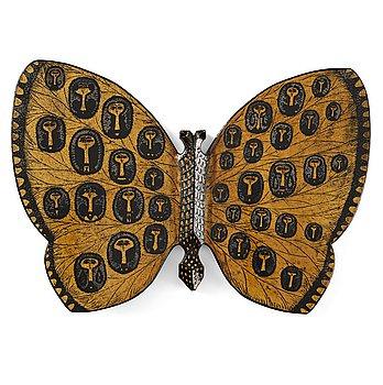 127. Birger Kaipiainen, a ceramic wall sculpture of a butterfly, Rörstrand, Sweden 1950's.