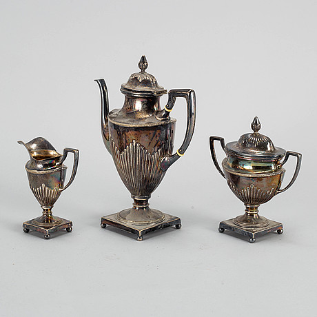 A three part coffee service, württembergische metallwaren fabrik (wmfb).