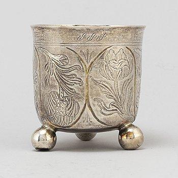 A Swedish baroque parcel-gilt silver beaker, mark of Jöns Spongberg, Gränna 1780.