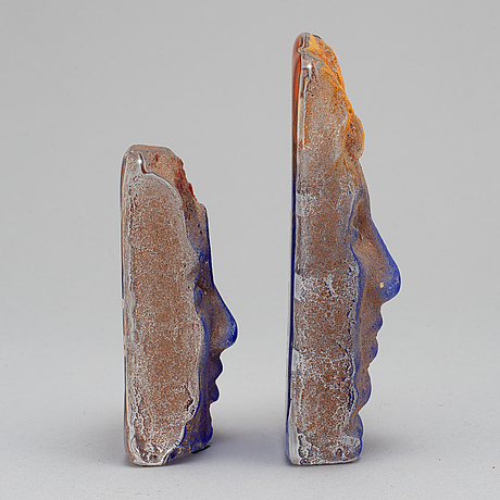 BjÖrn ekegren, two glass sculpturessigned b. ekegren och numrerade