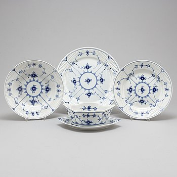 ROYAL COPENHAGEN, a part 'Musselmalet' porcelain dinner service, Denmark (36 pieces).