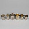A set of six russian 19th century parcel-gilt silver vodka cups.