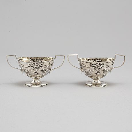 Charles westwood & sons, a pair of, silver salt cellars, birmingham 1899