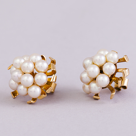 60s 18k gold and pearl earrings