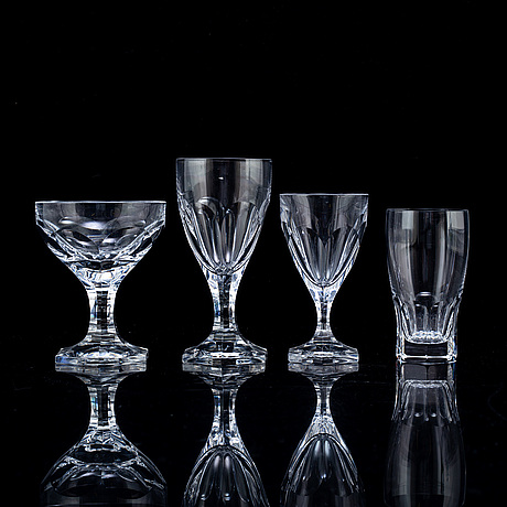 A swedish kosta  glass service, 20th century. (55 pieces)