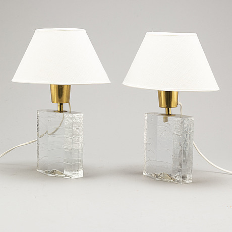 A pair of glass table lights, second half of the 20th century