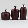 Rolf palm, three stoneware vases from mölle