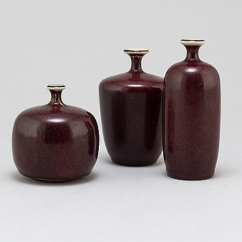 ROLF PALM, three stoneware vases from Mölle.