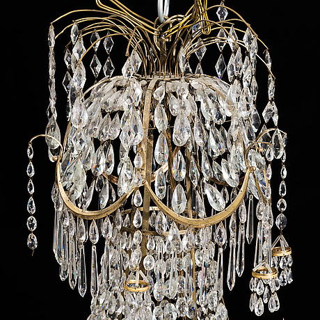 A late gustavian six light chandelier, circa 1900