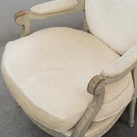 A pair of louis xvi style armchairs, circa 1900