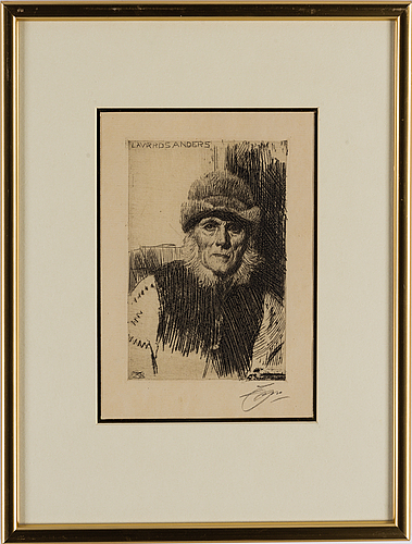 Anders zorn, etching, 1919, signed in pencil