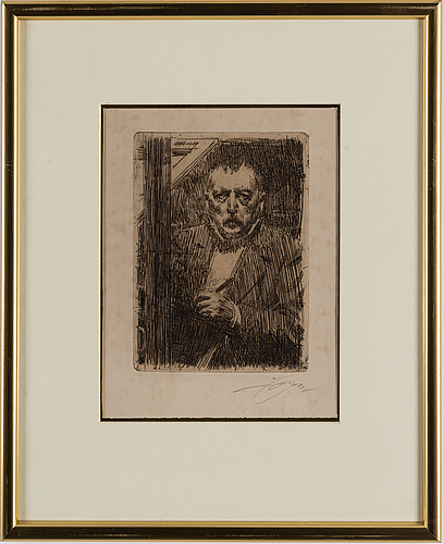 Anders zorn, etching, 1911, signed in pencil