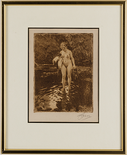 Anders zorn, etsning, 1913, signerad i blyerts