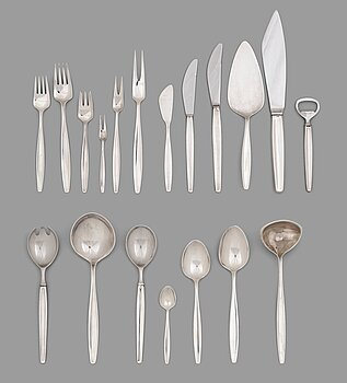 153. Tias Eckhoff, a set of 112 pcs of sterling silver and stainless steel 'Cypress' flatware, Georg Jensen, Copenhagen.