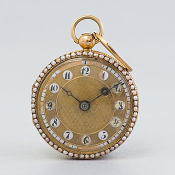 POCKET WATCH, gold, unmarked, Central Europe, early 19th century.